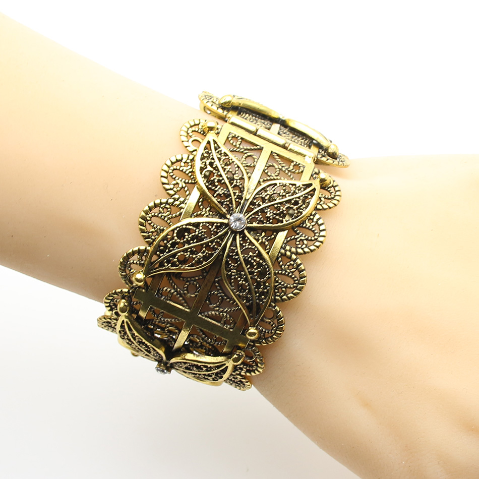 Exquisite Turkish Women Armlet Plus Size Bangle Bracelet Flower Antique Gold Color Cuff Bangles Jewelry Ethnic Party In From