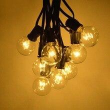 AIMENGTE 25 шт. полностью из стекла винтажные лампы накаливания Эдисона 7,6 м уличная гирлянда Водонепроницаемая садовая Декоративная гирлянда