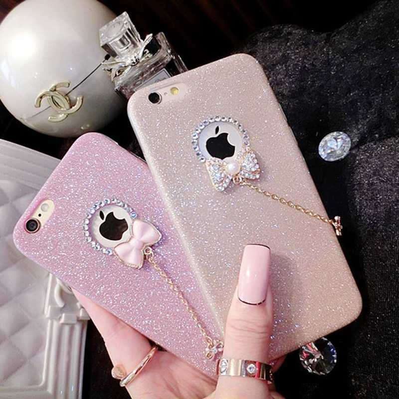 Silicone Glitter Back Cover For Case iphone 6 Glitter Luxury Soft Pink Girl Fashion Coque For iphone 5 5s se 7 8 x 10 6 plus