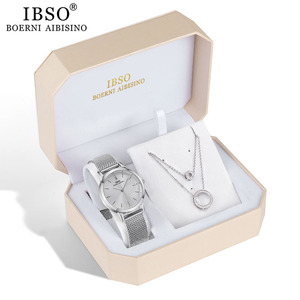 Image 3 - IBSO מותג נשים שעון סט כסף שרשרת קוורץ שעון סט נשי תכשיטי סט האופנה Creative קריסטל קוורץ שעון גברת של מתנה