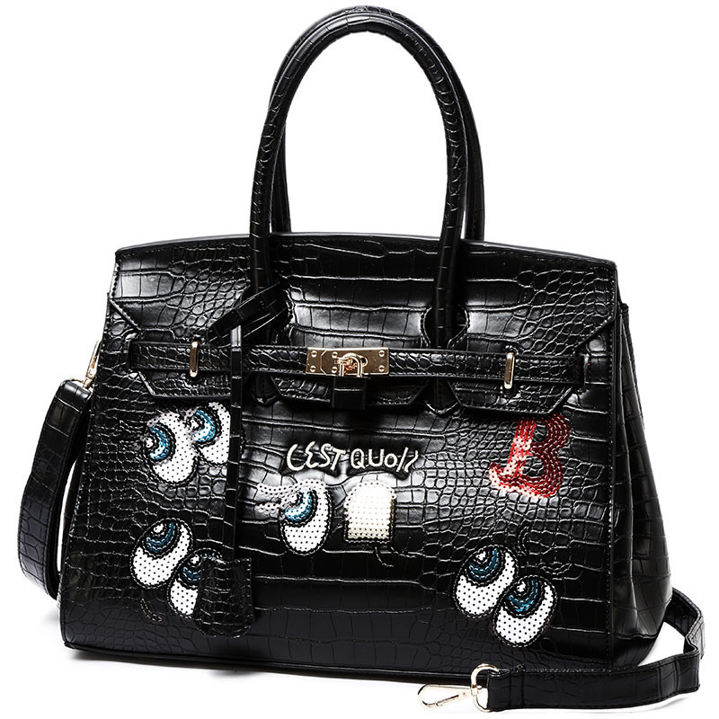 Luxury Cartoon Printing Bag Ladies Crossbody Bags Cute Crocodile Women Leather Handbags Women Messenger Bag Shoulder Bag Sac vanderwah crocodile pattern leather luxury handbags women bags designer women shoulder bag female crossbody messenger bag sac