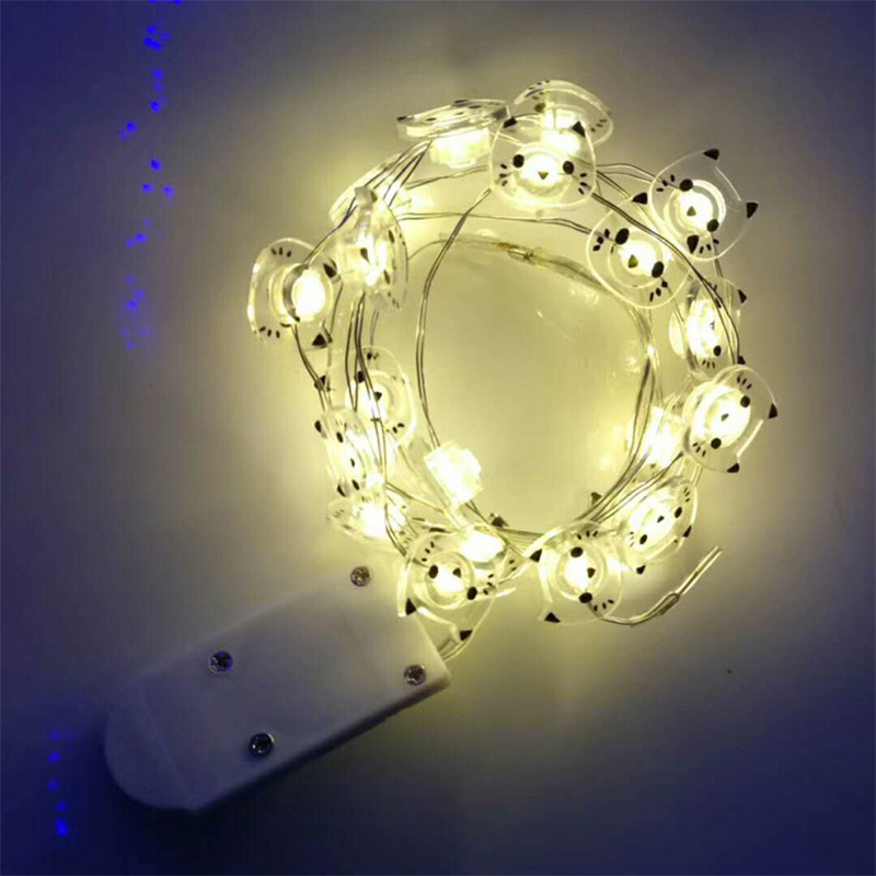Christmas 1M/2M LED String Light Cartoon Cat Copper Wire LED Fairy Light Battery Operated Outdoor Wedding Party Decorations