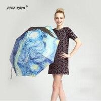 Как дождь Ван Гог живопись маслом зонтик дождь Для женщин автоматические зонты ветрозащитный известная марка Солнце Дождь Зонтик UBY01