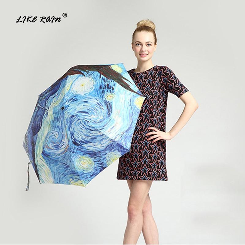 LIKE RAIN Van Gogh Oil Painting Umbrella Rain Women Automatic Umbrellas Windproof Famous Brand Sun Rain Umbrella UBY01