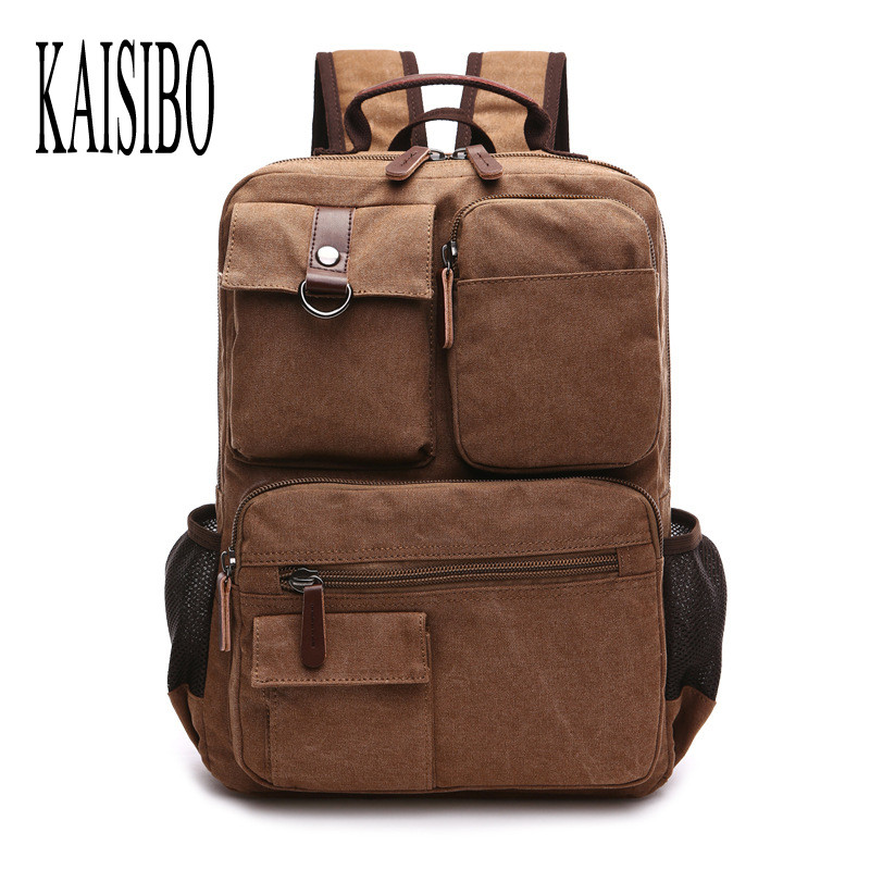 KAISIBO Casual Solid Canvas Men Backpacks Bussiness Laptop Bag Vintage Pockets High Quality 6 Colors Women's Backpack casual canvas satchel men sling bag