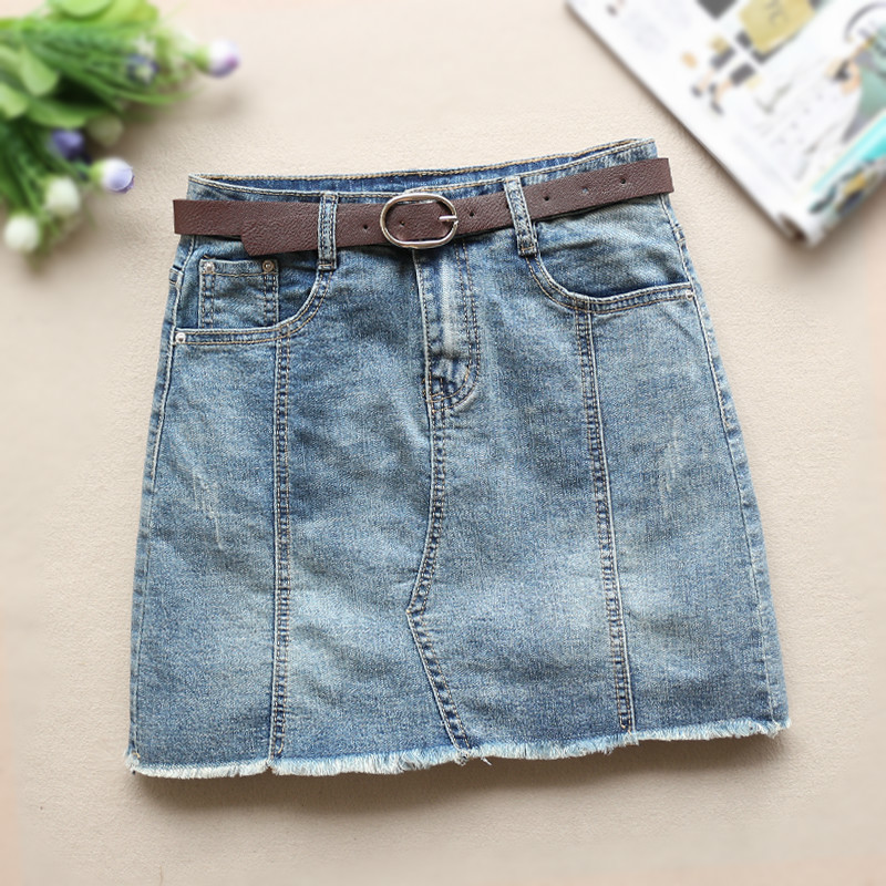 Fashion Washed Denim Skirt Womens Summer Sexy Mid Waist Blue Jean Skirt Female Jupe Falda Fashion 2019 in Skirts from Women 39 s Clothing
