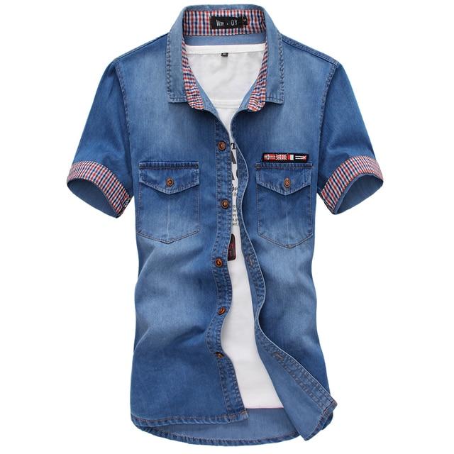 1068eada31a 2018 High Quality Short Sleeve Denim Shirt Men Casual Shirt Fashion Slim Mens  Jeans Shirts Plus Size 3XL US Euopean Style 50off