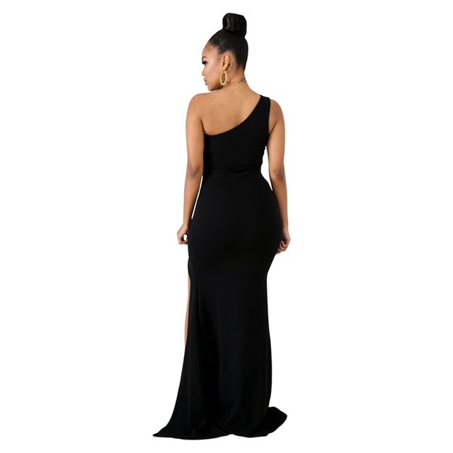 One shoulder black mesh maxi dress