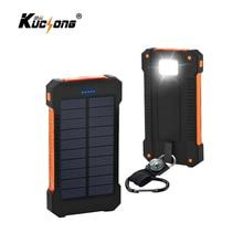 KuChong Waterproof Solar Power Bank 10000mah Dual USB Mobile Solar Charger Waterproof Powerbank for All Phone Fast Shipping