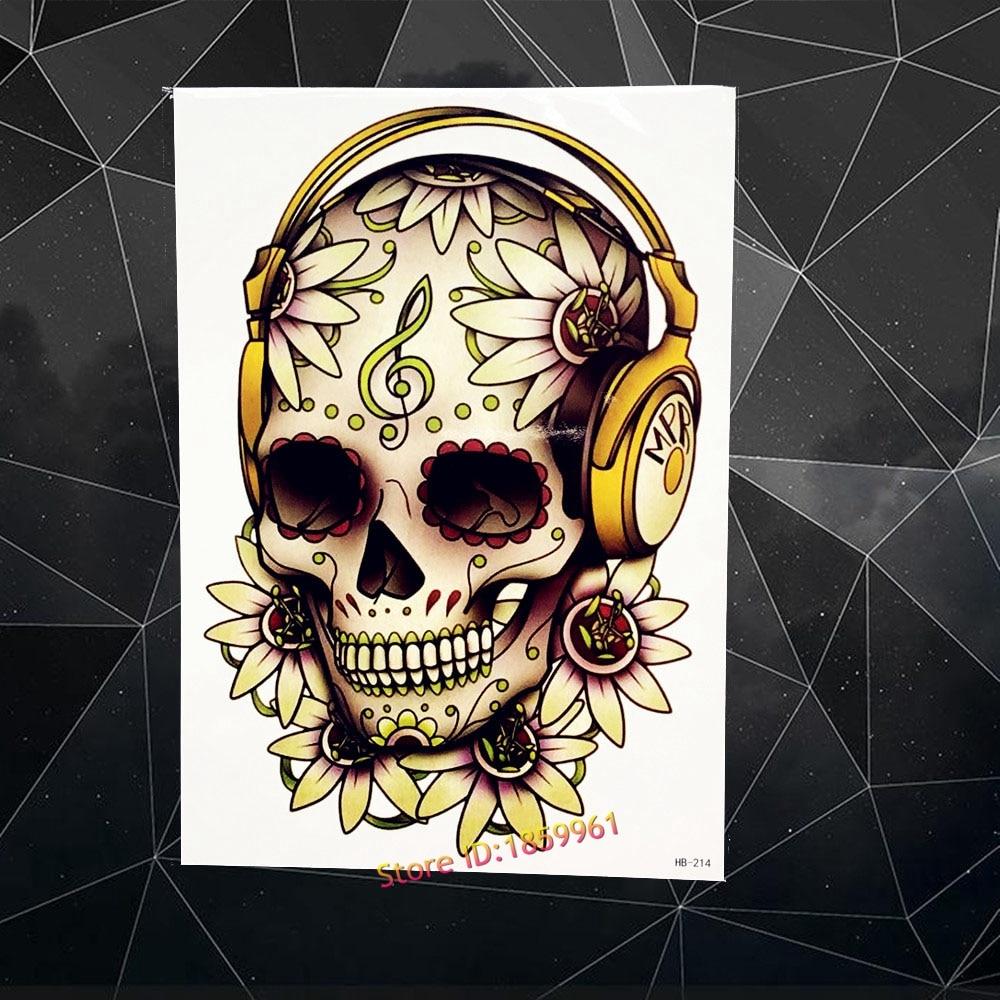Skull Henna Tattoo: Hot Henna Skull Head Fake Tattoo Men Body ARt Arm Tattoo