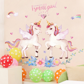 Cute Unicorn Flamingo Wall Stickers for Kids