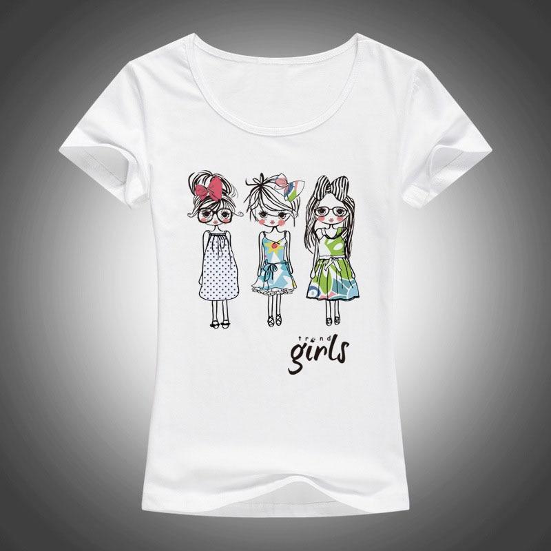 Karikaturë 2017 Tre vajza të vogla të shtypura bluza të modës, bluza verore bluza verore femra me mëngë të shkurtra në majë F01