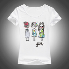 2017 cartoon Three little girls printed t shirt women fashion Summer t-shirts female short sleeved tees shirts tops F01