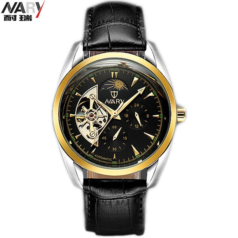 NARY Luxury Skeleton Watches Mechanical Hand Wind Wristwatch Male Leather Strap Classic Relogio Masculino Men Fashion Gold Watch electronic level ada prodigit mini