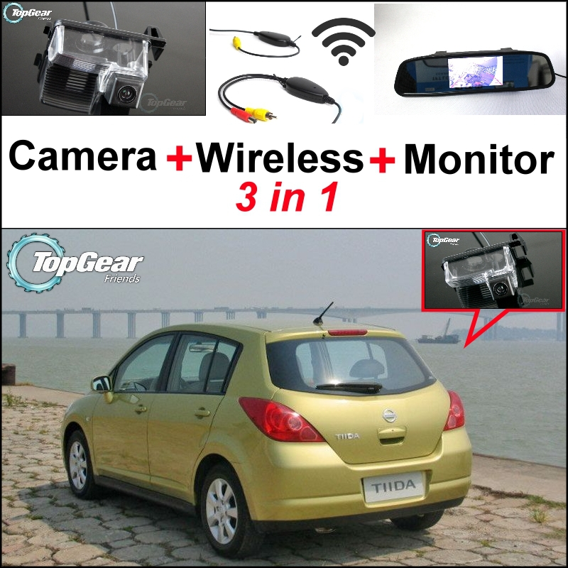 3 in1 Special Rear View Camera + Wireless Receiver + Mirror Monitor Parking System For Nissan Tiida Latio Hatchback 2004~2012 wireless pager system 433 92mhz wireless restaurant table buzzer with monitor and watch receiver 3 display 42 call button
