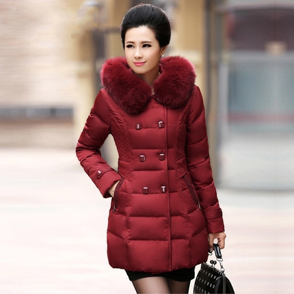 2015 New nutural fox collar down jacket women long thick plus size down jacket ladies Winter coat parka jacket 3XL 4XL 5XL D3850