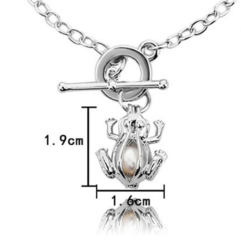 Silver Frog Pearl Cage Essential Oil Diffuser Locket Bracelet Jewelry Findings Cage For Oyster Pearl women