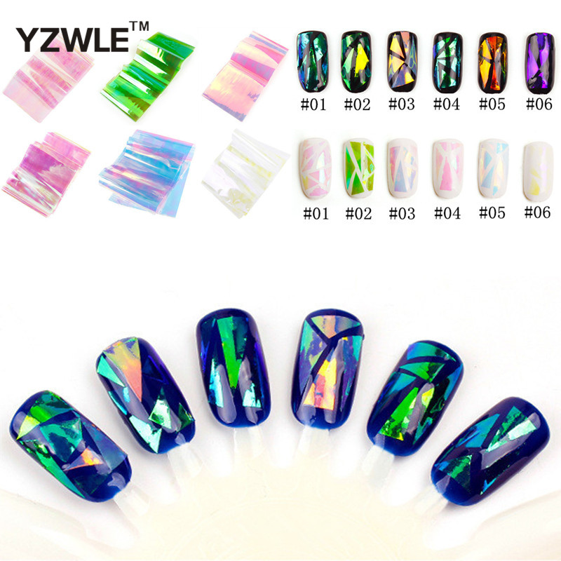 LCJ 1 Pcs 2020 Fashion Punk Transfer Foil Sticker Broken Glass Nail Art DIY Nail Beauty Decoration Stencil Decal