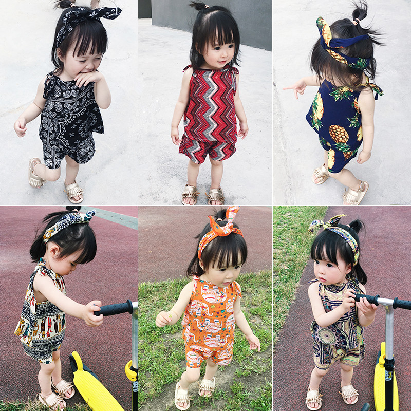 Girl Summer Suite 2018 New Childrens National Wind Two Piece Vest +Shorts Suit Baby Girl Printing Clothes