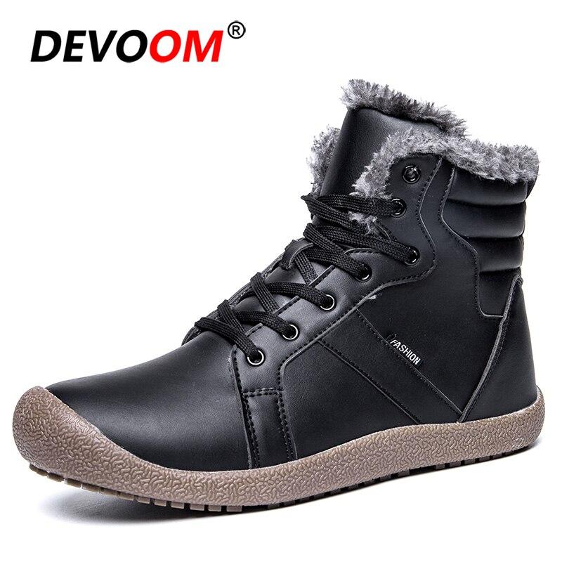 2018 nouveau hiver chaussures de marche hommes en cuir cuissardes hommes bottes de neige bottes décontractées hommes en plein air fourrure taille 36-48