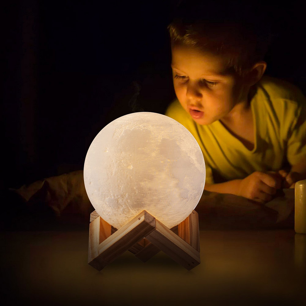 Creative Rechargeable 3D Print Moon Double Color Change Touch Switch Bedroom Bookcase with Night Light Home office Decorations
