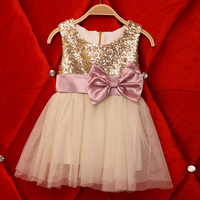 New Kids Baby Hot Sequined Double Bow Back Tutu Cake Dresses, Princess Girls Party Clothing