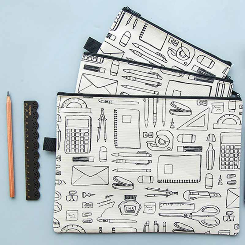 A4/A5/B6 Zipper File Folder Bag PVC Waterproof Oxford Cloth Multi-Functional Portable Travel Outdoor Storage Bag Office Supply
