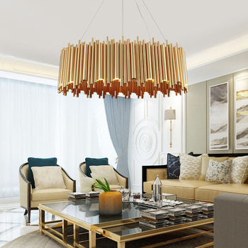 Modern Stainless Steel Delightful Chandelier Golden Round Tubes Chandelier Lighting
