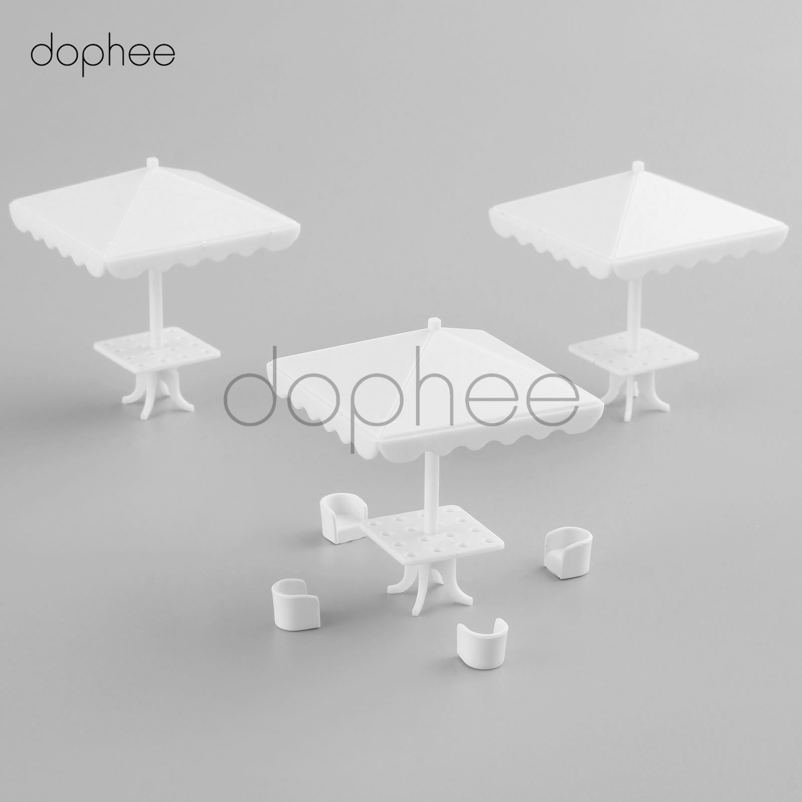 dophee 10pcs 1:75 Square parasol Model DIY Train Railway white Four corners Umbrella
