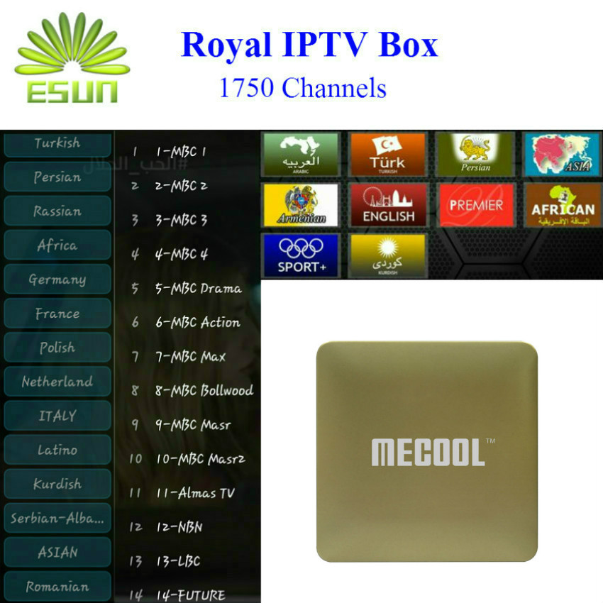 Ursprüngliche Amlogic S905X HM8 Mit Königlichen tv 1700 + Live kanäle arabisch...