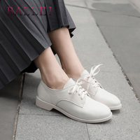 BALLEI Luxury Woman Retro Flats High Quality Genuine Leather Classic Round Toe Soft Low Heel Shoes Elegant Lace up Lady Flat P27