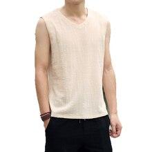 2019 Men Cotton Linen T-Shirts Kimono Kongfu sleeveless t shirt Mens Retro Streetwear Tops & Tees male Top Vest Hanfu 3XL