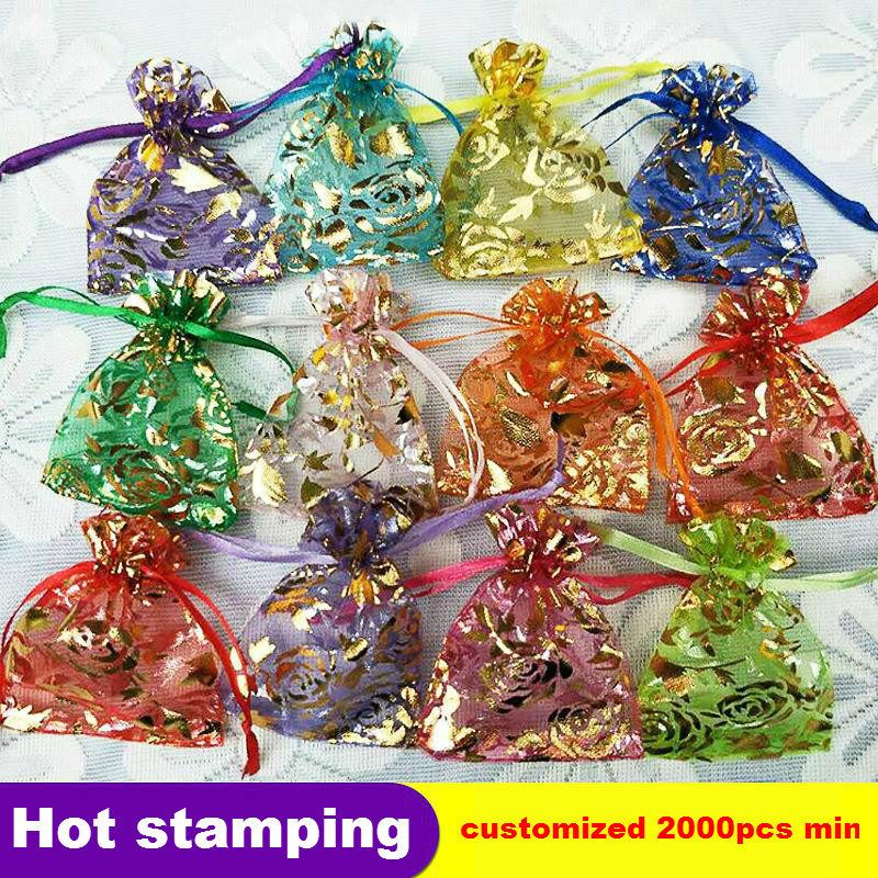 7x9 13x18cm Hot Stamping Rose Flower Jewelry Packaging Bags Organza Small Gift Bag Drawstring Wedding Party Decoration Supplies