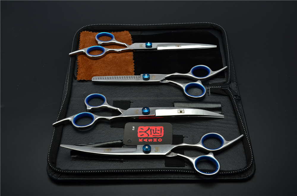 4Pcs Suit 7'' 19.5cm JP Kasho Professional Hair Hairdressing Scissors Cutting + Thinning  Scissors + UP&Down Curved Shears H3001