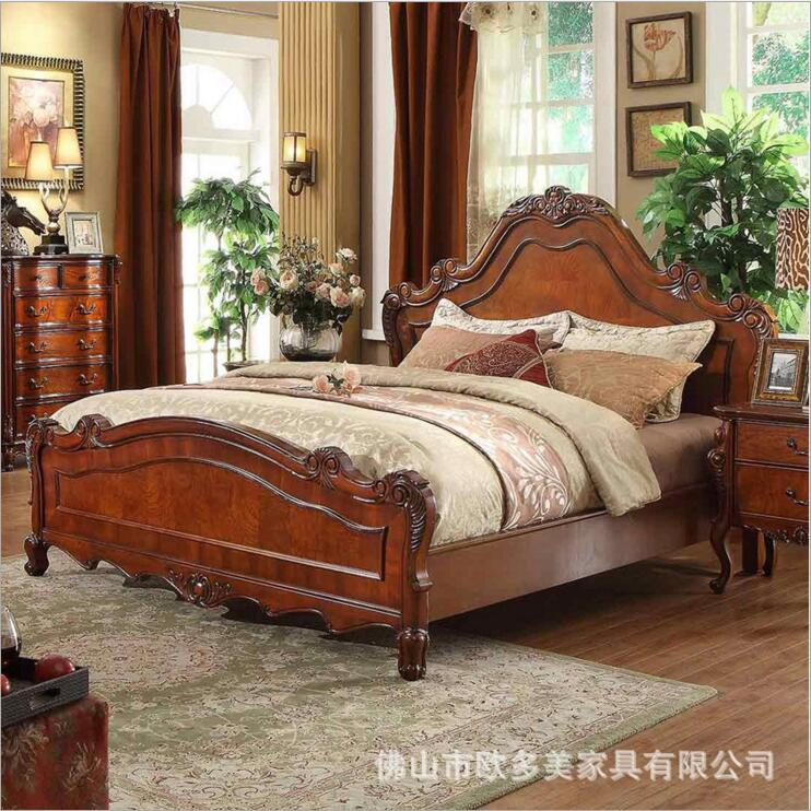 modern American solid wood bed Fashion bedroom set furniture d1404 стоимость