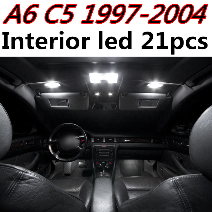21pcs X Free Shipping Error Free Led Interior Light Kit Package For Audi A6 C5 Rs6 Accessories