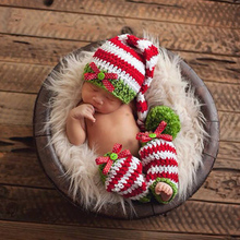 Christmas Baby Photography Props Newborn Girls Boys Wool Red Green Christmas Hat+Legging Crochet Knit Costume Photography Prop