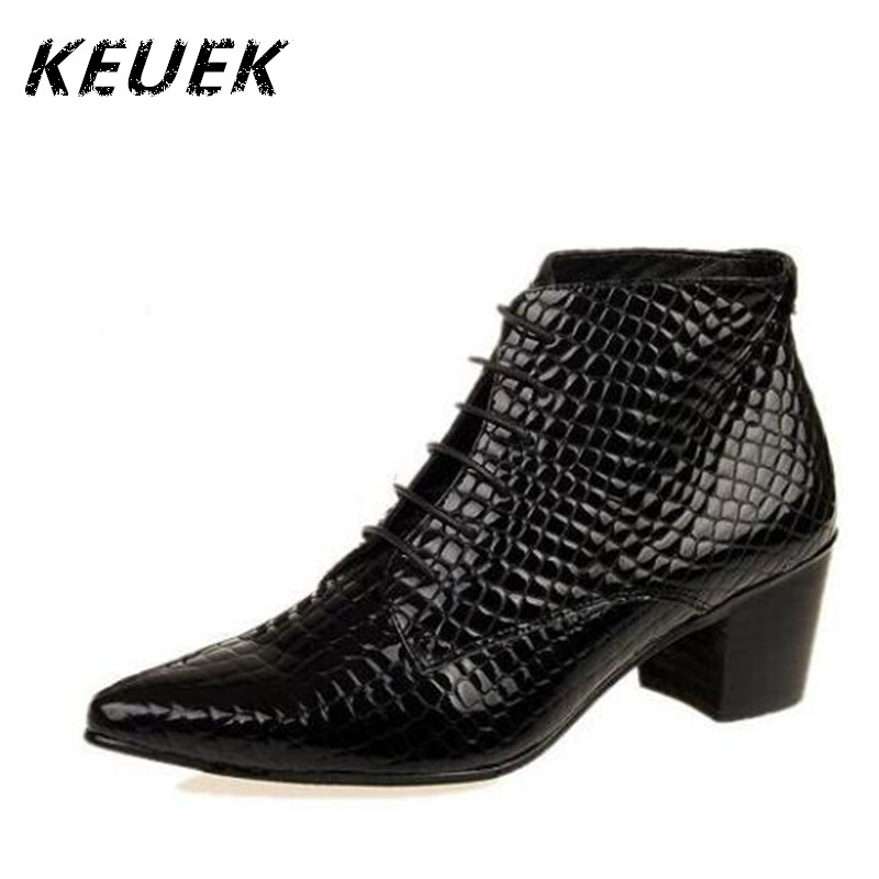 British style Men Fashion boots Genuine Leather Pointed Toe Ankle boots Male elevator shoes Autumn Winter 02