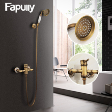 Fapully Antique Brass Shower Faucets Set with Rainfall Shower Single Handle Mixer Tap Swivel Tub Spout Bath Shower HS127-55A-01 стоимость