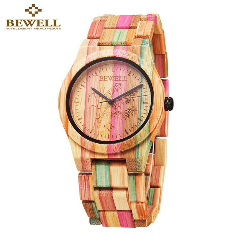 Wooden Watch Quartz Fashion Women Luxury Brand Bamboo with BEWELL Casual Full