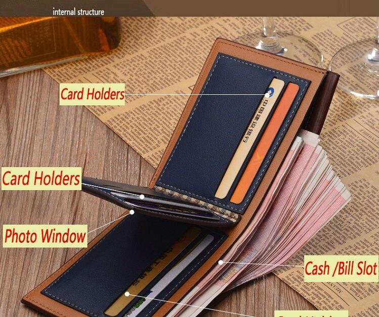 Bag Vintage Men Wallet PU Leather Luxury Wallet Short Holder Credit Card Money