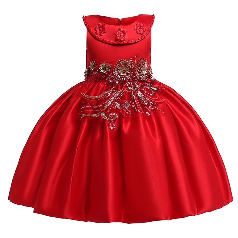 Beading   flower     girl     dresses   for wedding clothes first communion princess   dress   baby costume prom   dresses   for   girls   baby L5085