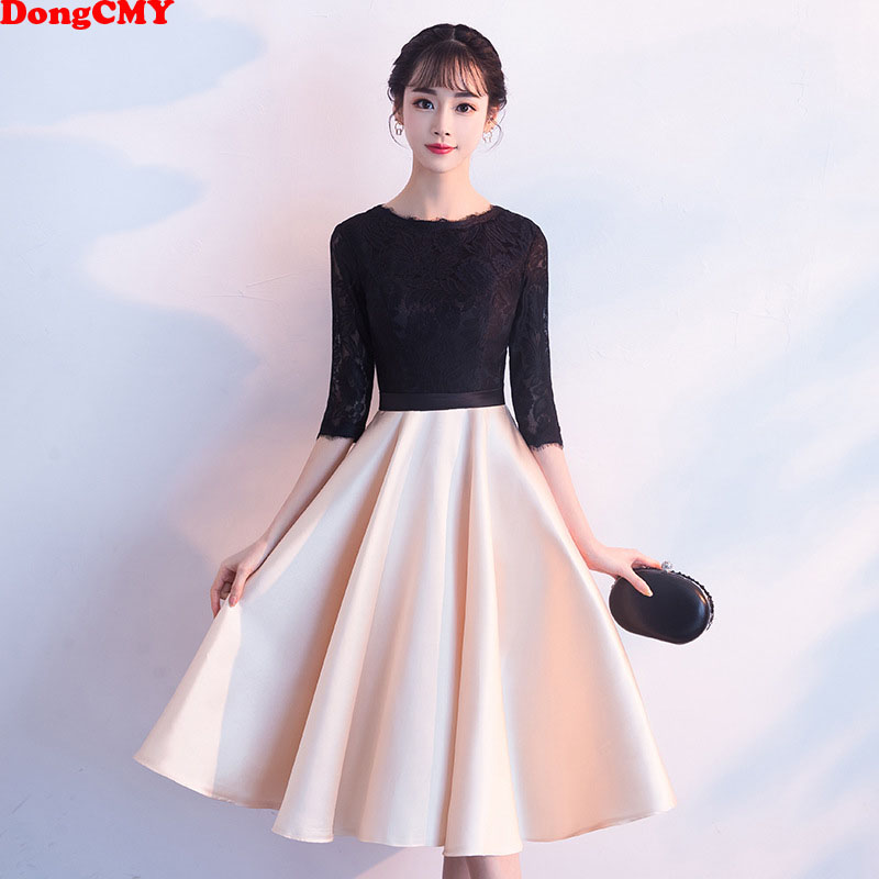 DongCMY New Short Black Color   Prom     Dresses   Vestido Party Elegant Evening Gowns