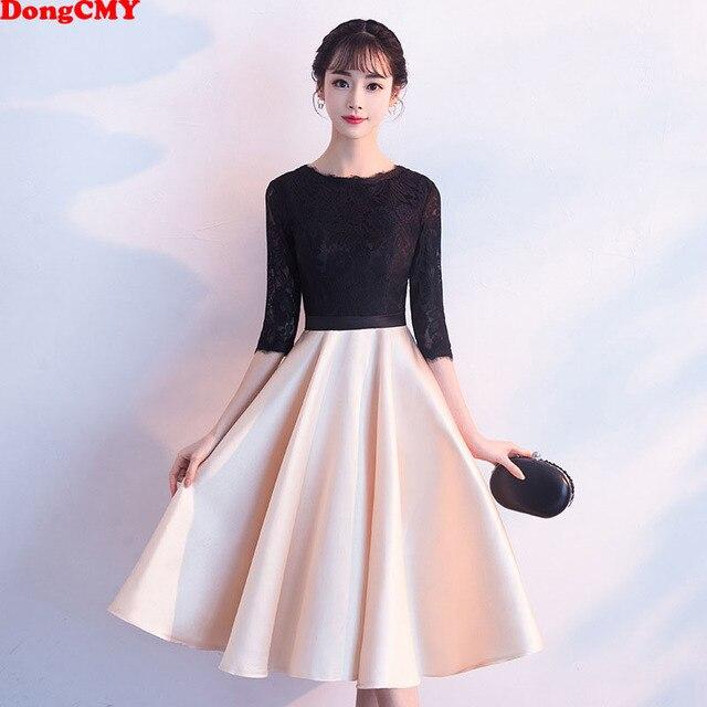 DongCMY חדש קצר שחור צבע שמלות נשף המפלגה Vestido אלגנטי ערב שמלות