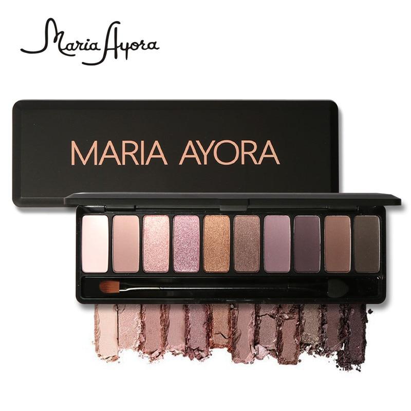 Fashion Eye Makeup Palette Natural Make Up Light 10 Colors Eye Shadow Shimmer Matte Eyeshadow Cosmetics Set With Brush 1PCS