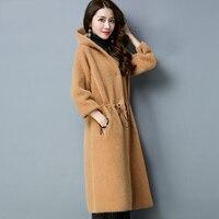 Шуба 2018 зимнее пальто Для женщин искусственной норки кашемир свободные Меховая куртка Женский Элегантный с капюшоном Длинные искусственно