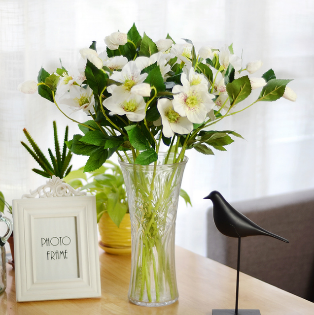 Single 3 Headed Artificial Flowers Living Room Flower Decorations