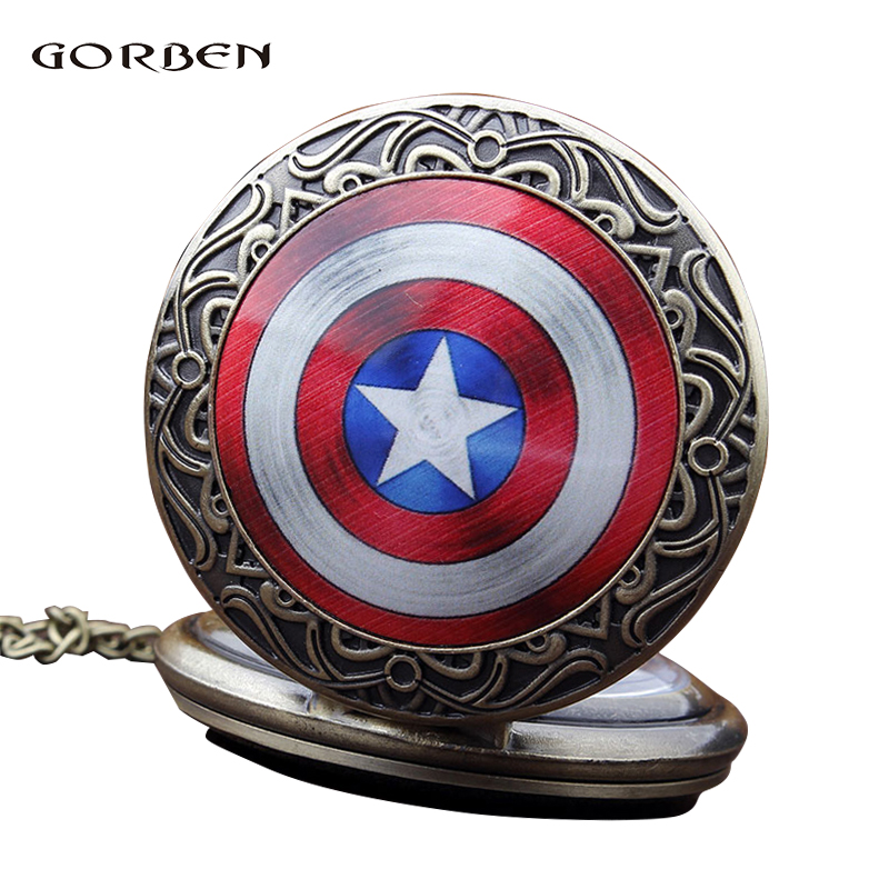 2020 Retro Vintage Pocket Watch Star Captain Hero necklace Chain Antique Bronze Mens Quartz pocket Fob watches Relogio De Bolso
