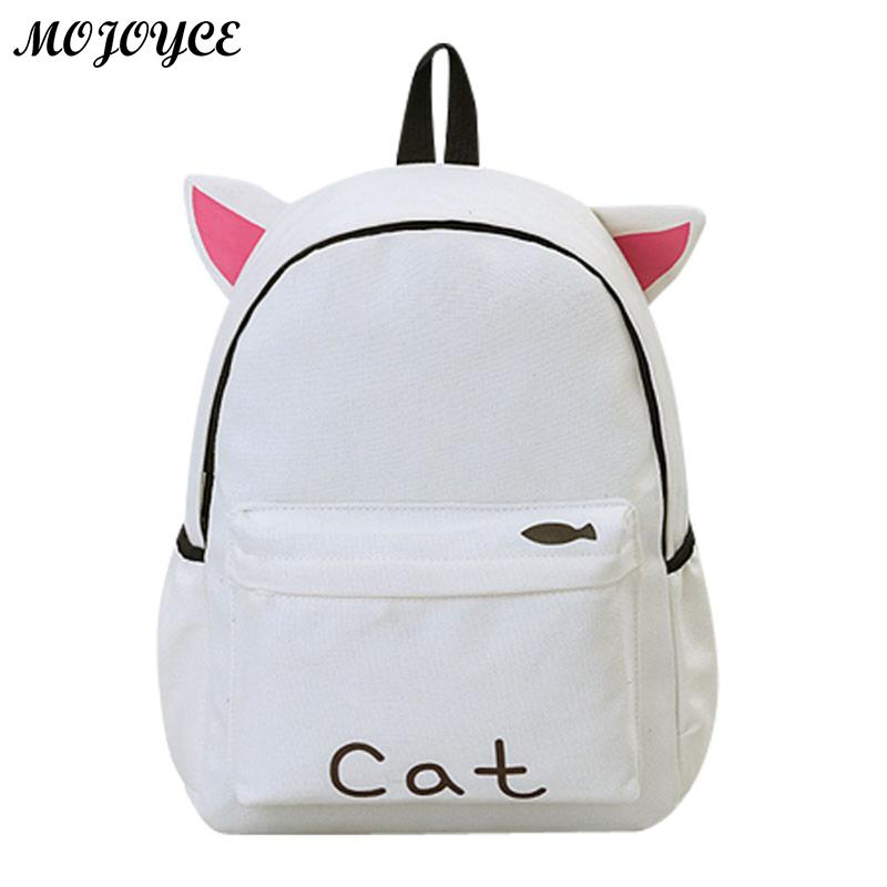 Women Backpack Cute Ear School Bags For Teenage Girls Canvas Backpack Female Travel Rucksack Ladies Bag Mochila Feminina cartoon melanie martinez crybaby backpack for teenage girls school bags backpack women casual daypack ladies travel bags