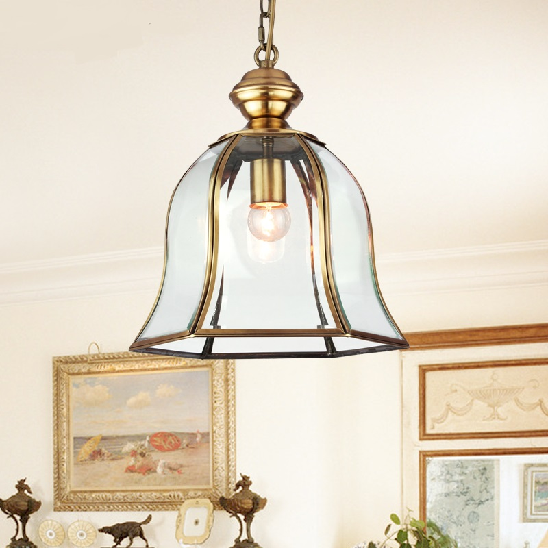 Dench European style all copper single head Pendant Lights American style glass copper lamp living room aisle lamp LU623 ZL73 YM a1 master bedroom living room lamp crystal pendant lights dining room lamp european style dual use fashion pendant lamps